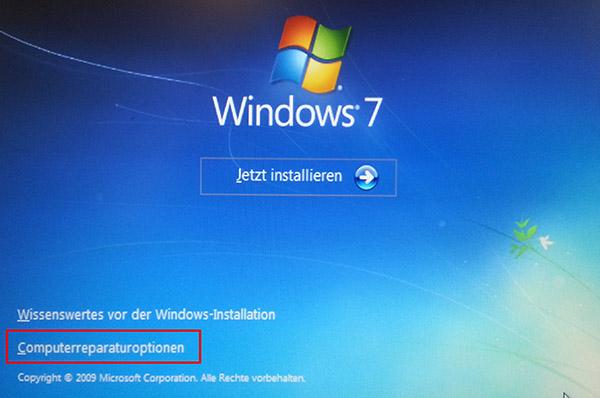 Computerreparaturoptionen von Windows-DVD starten