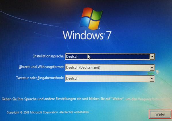 Windows-DVD starten